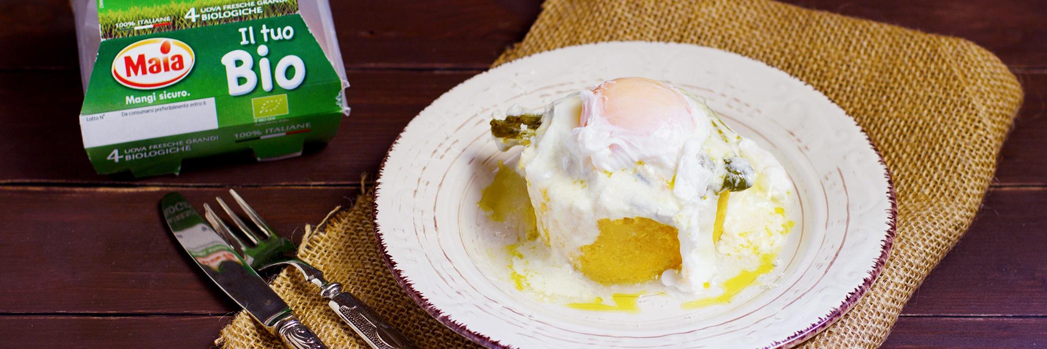 Polenta con cipollotti gratinati e uovo pochè