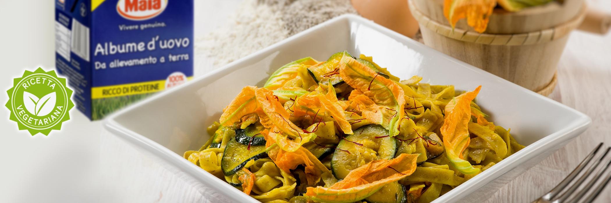 tagliatelle albume fiori di zucca e zucchine