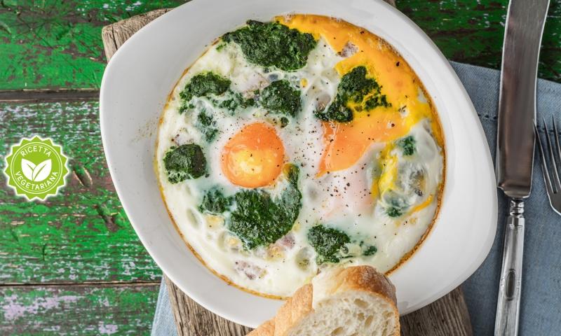 Uova al tegamino con spinaci